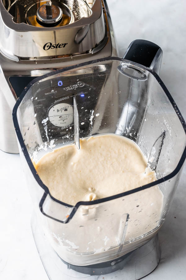 vegan hazelnut cheesecake in a blender
