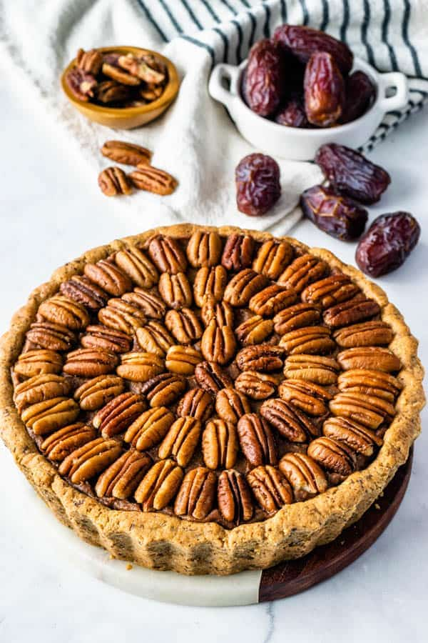vegan pecan pie also paleo refined sugar free topped with pecans