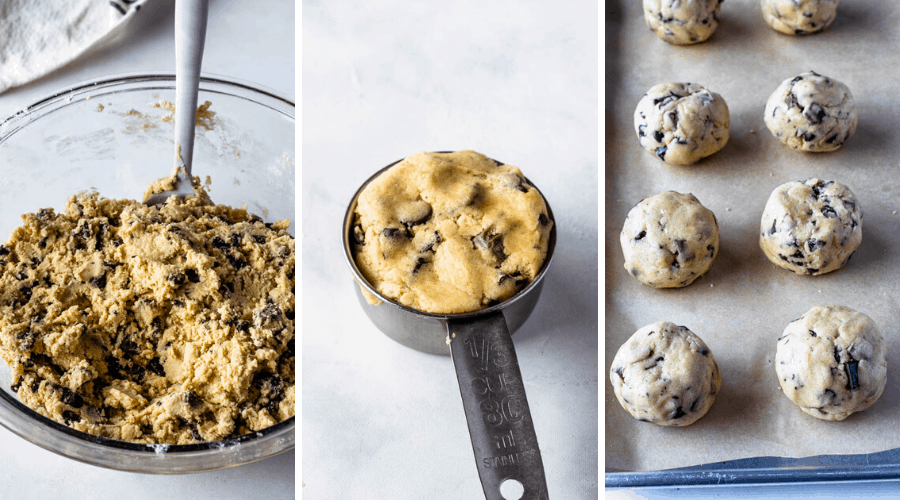 three pictures showing how to shape large chocolate chip cookies