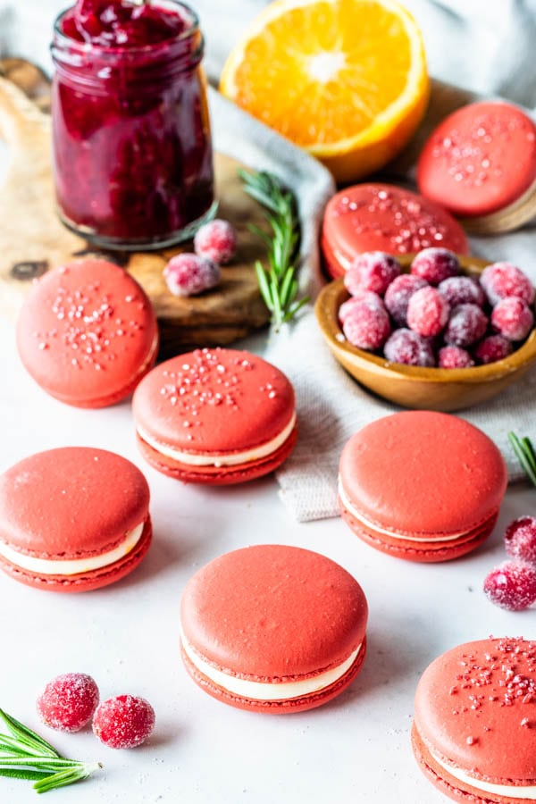 cranberry macarons with orange buttercream and cranberry