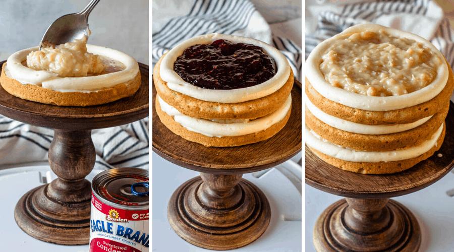 assembling coconut raspberry cake