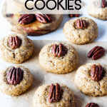 Vegan Pecan Cookies with a touch of bourbon topped with pecans
