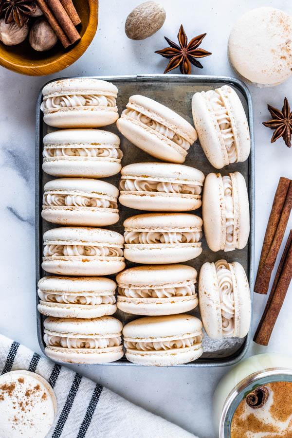 Eggnog Macarons with eggnog buttercream filling