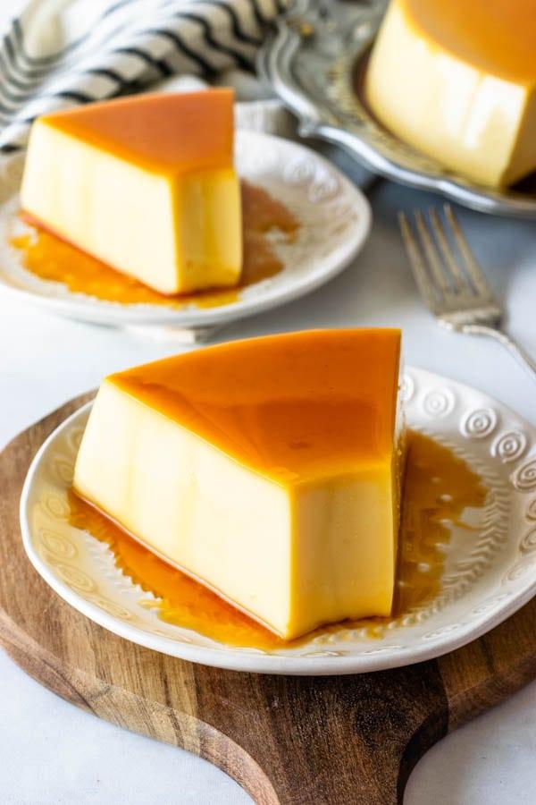 no-bake flan with caramel on top