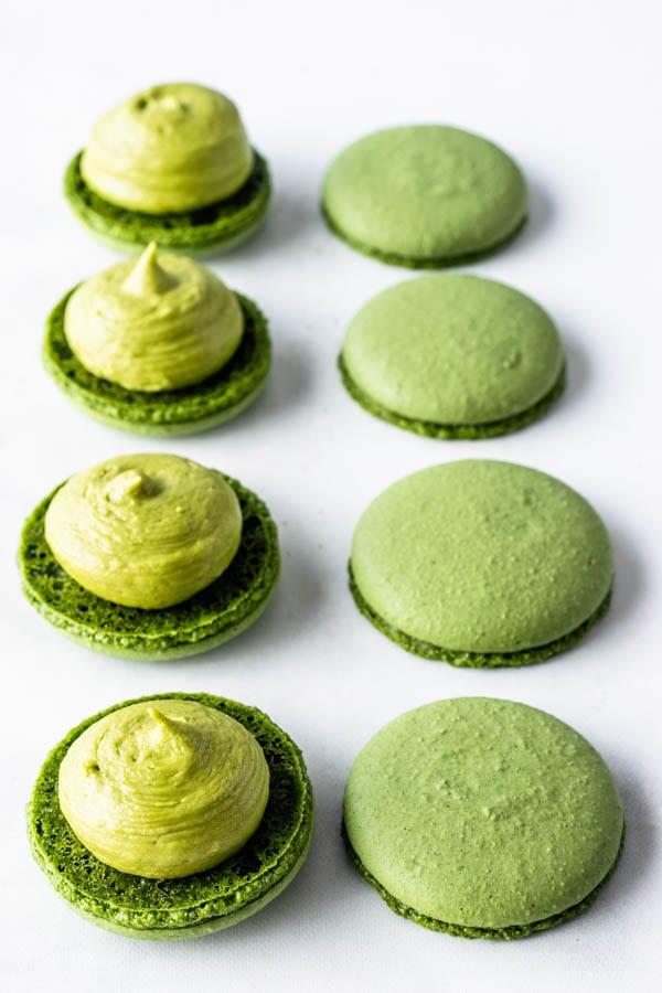 Vegan Matcha Macarons filled with green tea buttercream