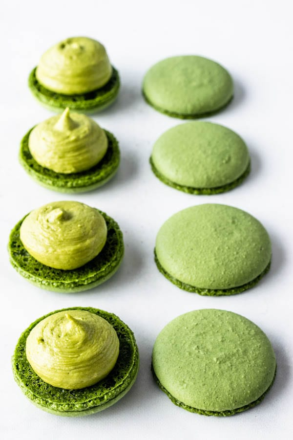 Vegan Matcha Macarons filled with green tea buttercream