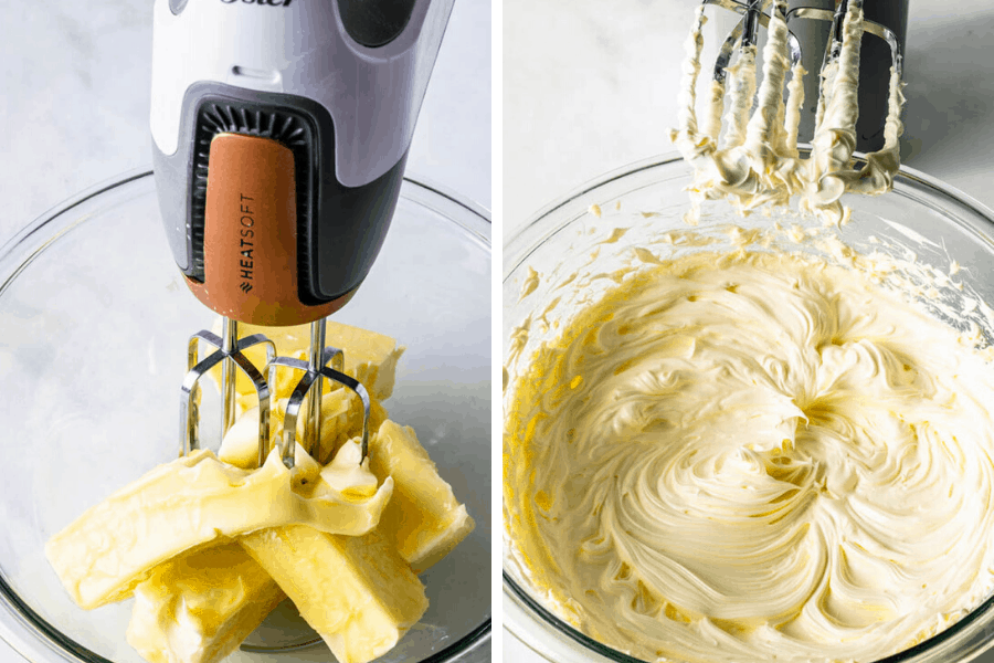 creaming butter to make Sweet Condensed Milk Frosting