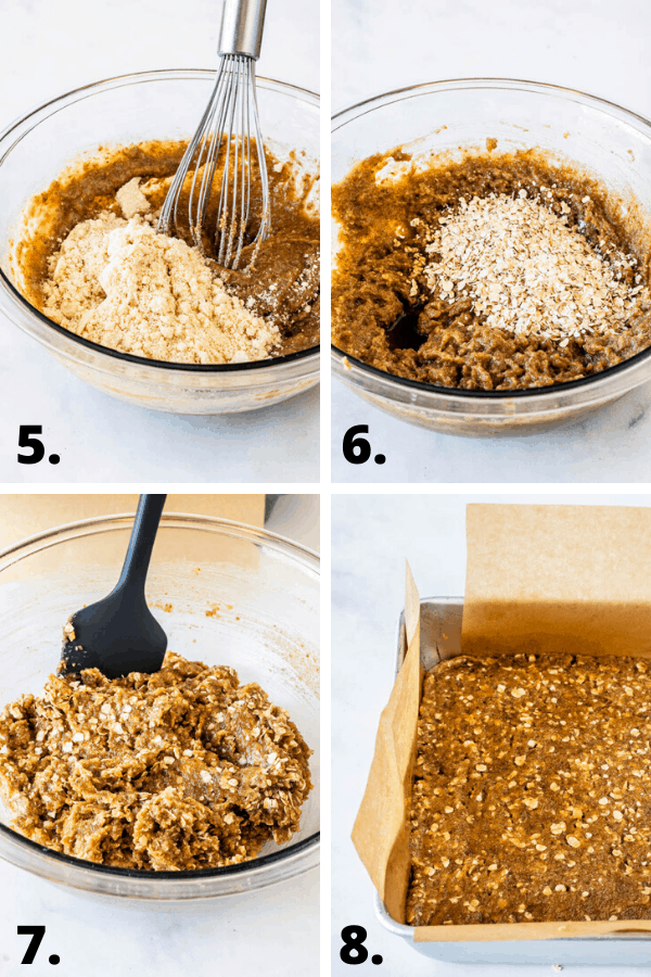 step by step on how to make almond butter bars