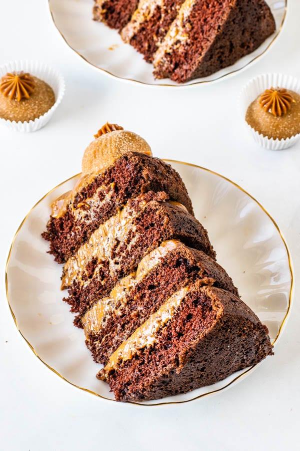 slice of chocolate dulce de leche cake