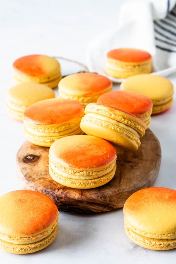 Mango Macarons air brushed with orange food coloring