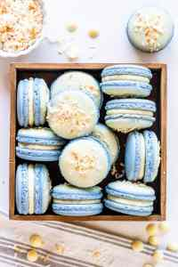 Coconut Macarons topped with white chocolate and toasted coconut