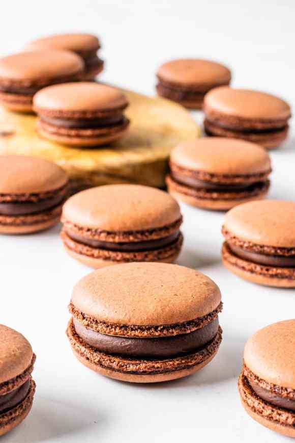 vegan macarons filled with chocolate ganache