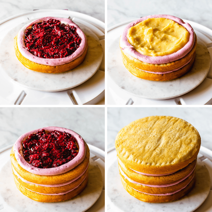 4 pictures. first picture a cake layer filled with blackberry jam. second picture: two cake layers, the top one filled with lemon curd in the middle. third picture: three cake layers, filled with blackberry jam. forth picture 4 vanilla cake layers stacked