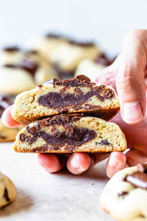 brookies, a mixture of brownies and cookies baked together into one treat, cut crosswise to show the inside texture
