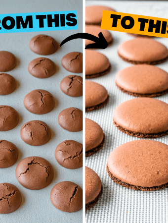 two pictures with the saying: from this to this. First picture: cracked macarons, second picture perfect macarons.