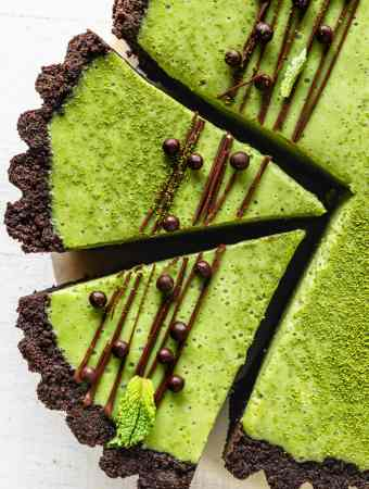 Matcha Pie with oreo crust and drizzled with chocolate and callebaut crispearls