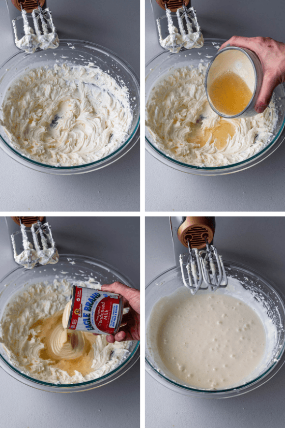four pictures showing how to make no bake cheesecake batter.