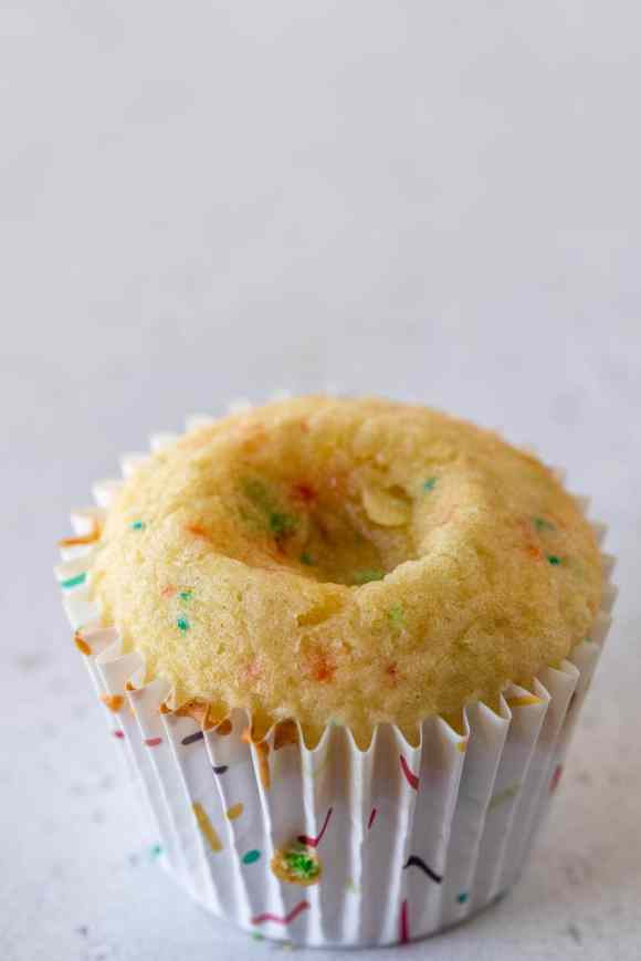 cupcake sunk in the middle