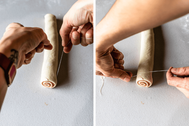 two pictures showing how to cut cinnamon rolls using floss.