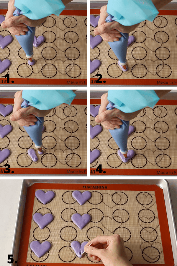 how to pipe heart macarons diagram, 5 pictures showing how to pipe heart macarons.