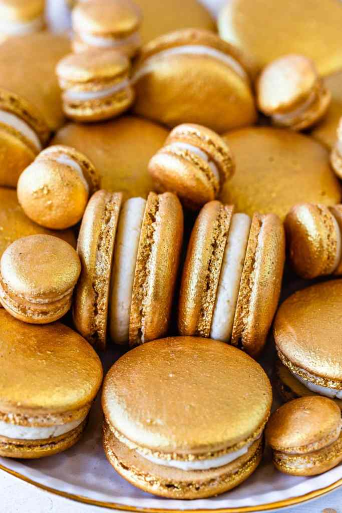 Golden Macarons filled with Baileys Ganache.