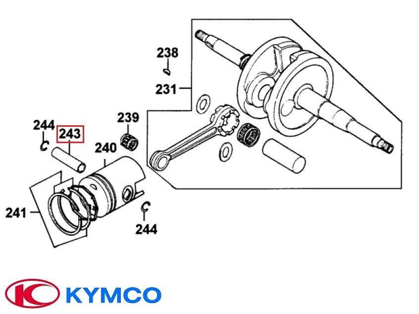 Bolt piston original Kymco B&W - Cobra