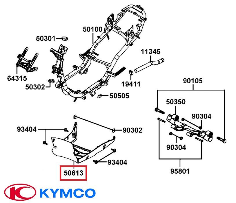 Carena podea inferioara originala Kymco Agility 4T 50-125