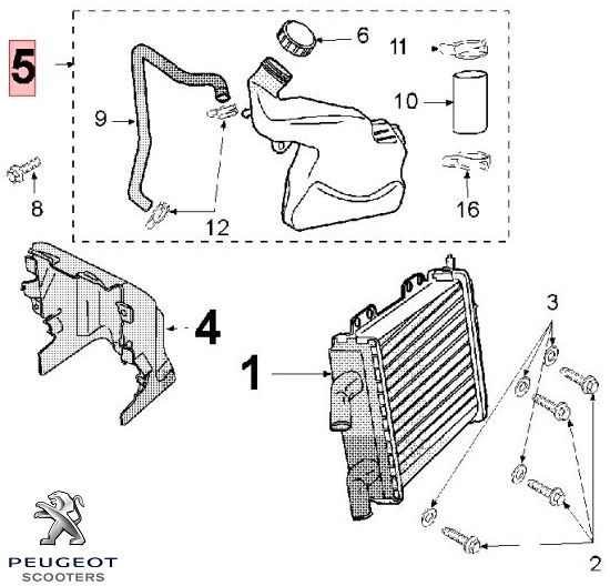 Vas expansiune (radiator) original Peugeot Jet Force C