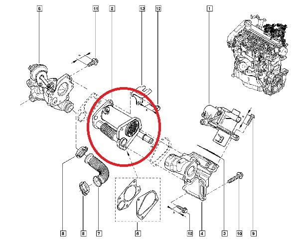 Racitor gaze EGR Renault Megane 3 , 1.5 dCi , 90 Cp , Euro