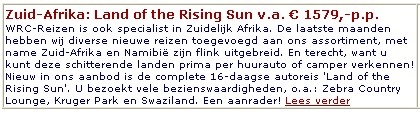 Zuid-Afrika - Het land van de rijzende zon