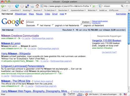 Nilsson Creatieve Communicatie staat op de eerste plaats via Google