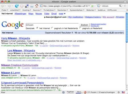 Nilsson Creatieve Communicatie staat op de derde plaats via iGoogle