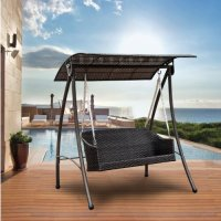 Outsunny Garden Rattan Swing Chair Outdoor Swinging ...