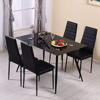 Huiseneu Modern Black Dining Chairs Set Faux Leather ...