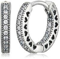 Pandora Women Silver Hoop Earrings  296317CZ