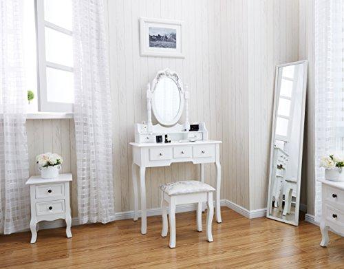 CAPRI AGTC0010 Chaise pour coiffeuse Blanc Meuble Miroir de chambre  coucher