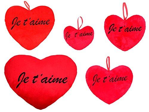 Coussin Pluche Gant En Forme De Coeur Rouge Avec L