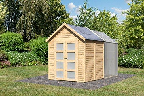 abri de jardin bois 3 64 m2 avec serre polycarbonate 3 70 m2 19 mm flora 4