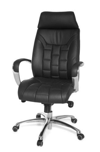 amstyle design fauteuil de bureau xxl turin en cuir veritable avec mecanisme synchrone charge max 150 kg noir