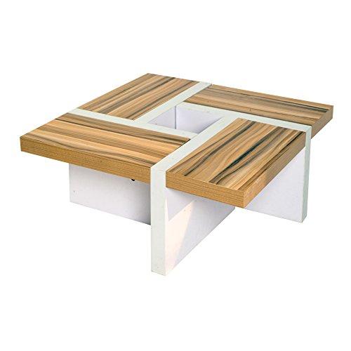rebecca srl table de salon table basse bois marron blanc design moderne sejour lounge cod re4803