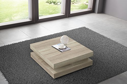 table basse carre amovible coloris bois sonoma clair