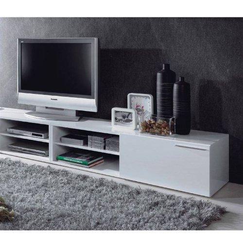 generique kikua meuble tv 130cm blanc brillant couleur blanc