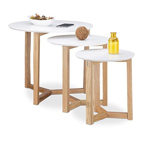 relaxdays tables gigognes rondes blanches lot de 3 bois de chene salon salle a manger chevet 50 35 30 cm design nordique moderne retro blanc nature