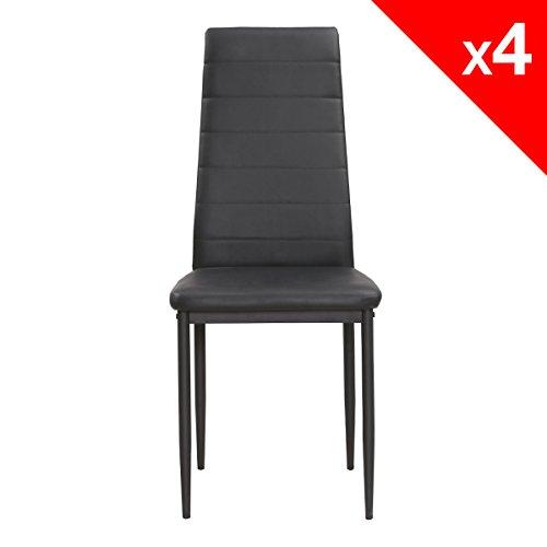apex chaises salle a manger lot de 4 chaises cuisine salon simili cuir pietement metal noir