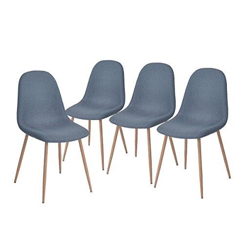 aingoo lot de 4 chaise design tapissee bleu gris pietement eiffel bois de chene naturel et assise en tissu