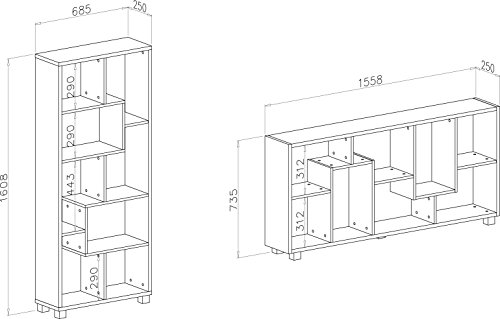 home innovation etagere bibliotheque design salon salle a manger blanc mate dimensions 68 5 x 161 x 25 cm de profondeur