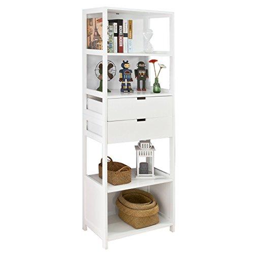 promotion 30 sobuy frg182 w bibliotheque meuble colonne de salle de bain salon armoire toilette haute 4 etageres et 2 tiroirs blanc