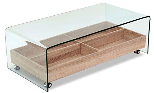 table basse en verre trempe plateau en bois roulant avec rangements design moderne ice