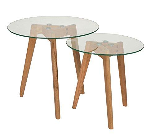ts ideen ensemble de 2 pieces table d appoint rond bois de chene table a cafe table de chevet salon