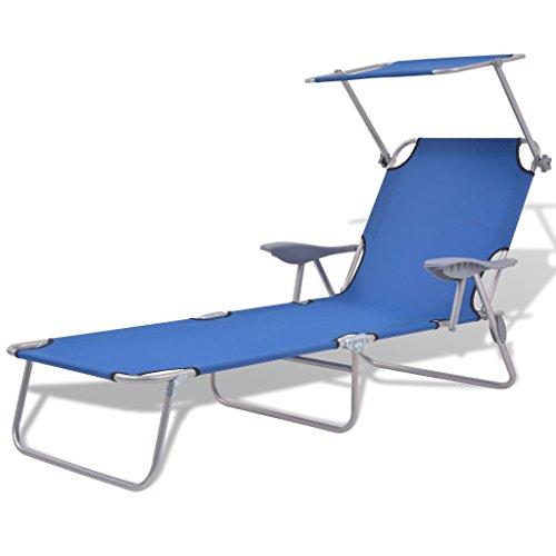 festnight bain de soleil avec pare soleil chaise longue de jardin plage cadre en acier enduit de poudre 58x189x27 cm
